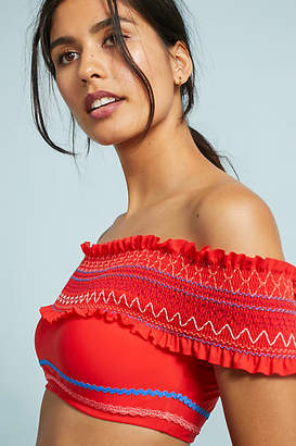 Red Carter Ipanema Smocked Off-The-Shoulder Bikini Top