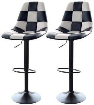 AmeriHome White Checkered Racing Bar Chairs - 2 Piece