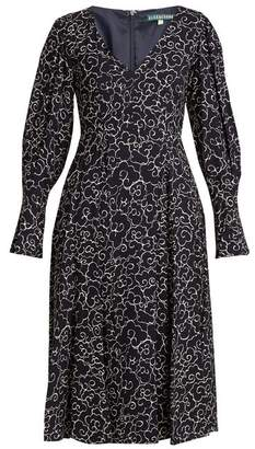 ALEXACHUNG Cloud Print V Neck Crepe Dress - Womens - Navy White