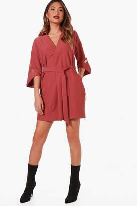 boohoo Kimono Sleeve Belted Shirt Dress