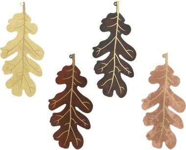 Metal Oak Leaf Ornament Set