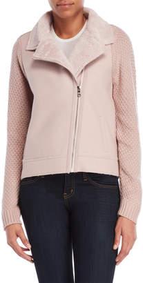 Metric Faux Fur Collar Knit Sleeve Jacket