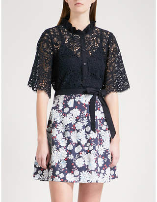 Claudie Pierlot Ruffled floral-lace shirt