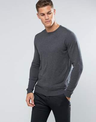 Selected Identity Crew Neck Knit In Cotton Silk