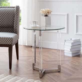 Southern Enterprises Sokia Round Acrylic Accent Table w/ Glass Top, Glam, Silver