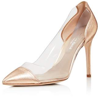 Charles David Women's Genuine Leather Illusion Pointed Toe Pumps