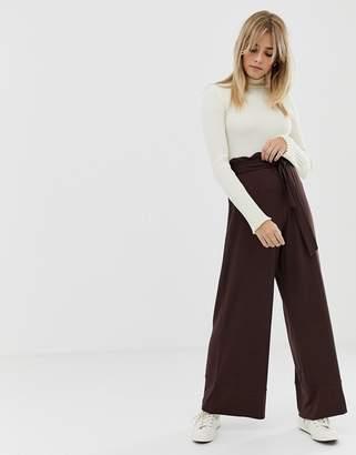 Asos Design DESIGN wide leg pants with paperbag waist