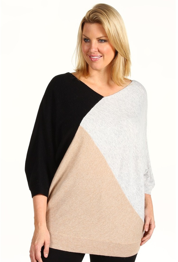 DKNY DKNYC - Plus Size Three Quarter Dolman Sleeve Color Block Sweater (Black/Heather Cloud) - Apparel
