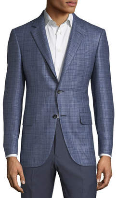 Canali Men's Textured Plaid Cashmere-Blend Two-Button Jacket