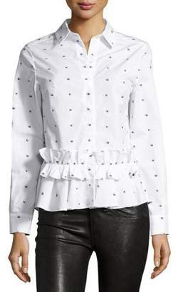 McQ Alexander McQueen Long-Sleeve Poplin Swallow-Print Blouse, White $510 thestylecure.com