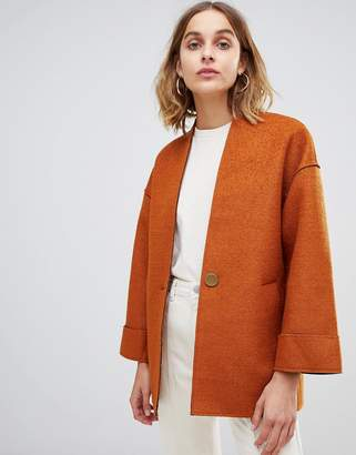Warehouse short bonded coat in tan