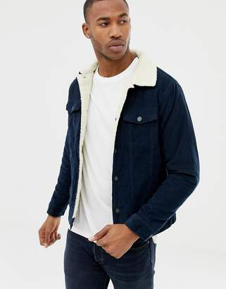 Pull&Bear borg lined cord jacket in navy
