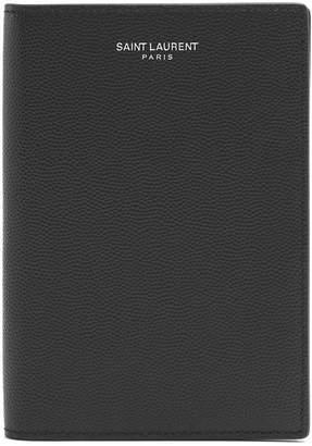 Saint Laurent Bi-fold pebbled-leather passport holder