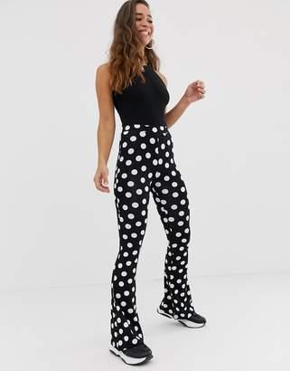 Asos Design DESIGN flare pants in polka dot