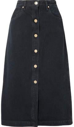 Gold Sign The Button Front Denim Midi Skirt - Black