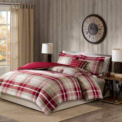 Sheridan California King Comforter Set in Tan/Red