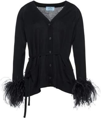 Prada feather-embellished belted cardigan