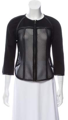 Jonathan Simkhai Leather-Trimmed Caged Jacket w/ Tags