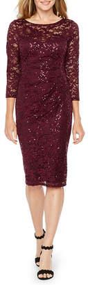 BLU SAGE Blu Sage 3/4 Sleeve Sequin Lace Sheath Dress
