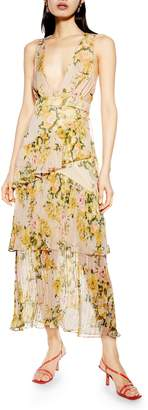 Topshop Floral Print Pleated Tiered Maxi Dress