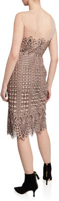 BCBGMAXAZRIA Sleeveless Lace Sheath Scallop Dress