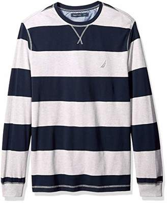 Nautica Men's Big and Tall Long Sleeve Rugby Stripe Crewneck Polo Shirt