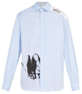 J.W.Anderson X Albrecht DArer Print Contrast Panel Cotton Shirt - Mens - Light Blue