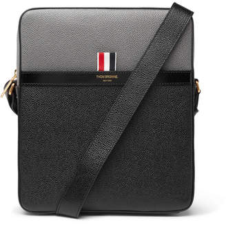 Thom Browne Colour-Block Pebble-Grain Leather Messenger Bag