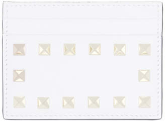 Valentino White Garavani Rockstud Card Holder