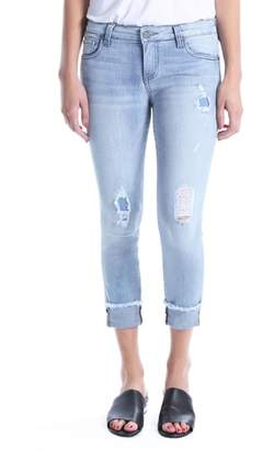 KUT from the Kloth Connie Distressed Frayed Hem Ankle Skinny Jeans