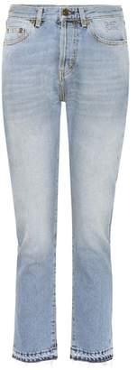 Saint Laurent Embroidered cotton slim-fit jeans