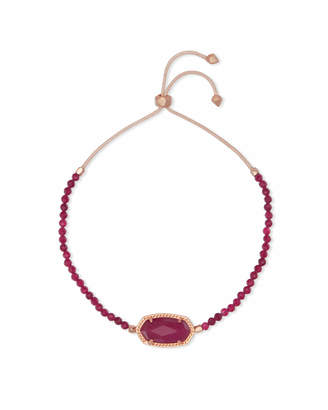 Kendra Scott Elaina Rose Gold Beaded Chain Bracelet in Maroon Jade