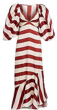 Johanna Ortiz Women's Parada En Altamar Striped Silk Puff-Sleeve Maxi Dress