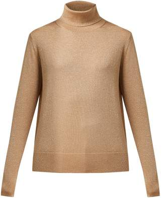 Joseph Roll Neck Metallic Wool Blend Sweater - Womens - Gold