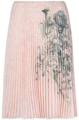 Prada pleated printed skirt