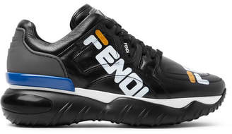 Fendi Logo-Print Leather And Rubber Sneakers
