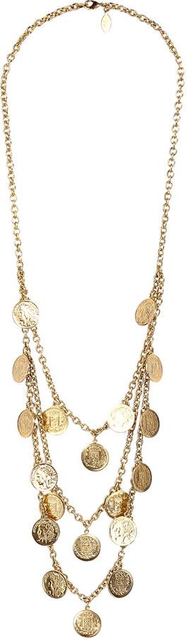 Theodora & Callum Gold Triple Strand Coin Necklace