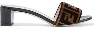 Logo-print Velvet And Leather Mules - Brown