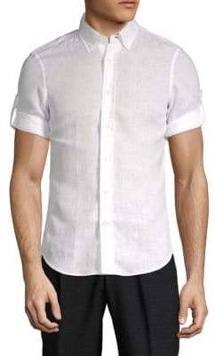 Brunello Cucinelli Linen Elbow-Sleeve Button-Down Shirt