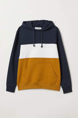 H&M Color-block Hooded Sweatshirt - Blue