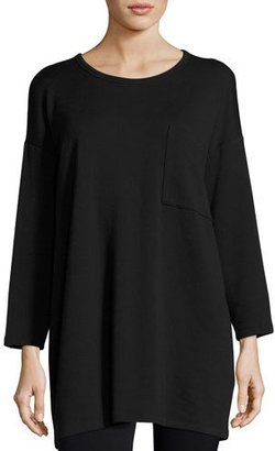 Eileen Fisher Long-Sleeve Fleece Tunic with Drama Pocket $168 thestylecure.com