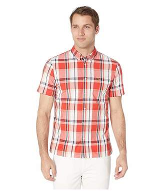 Lacoste Short Sleeve Printed Plaid Popeline Woven