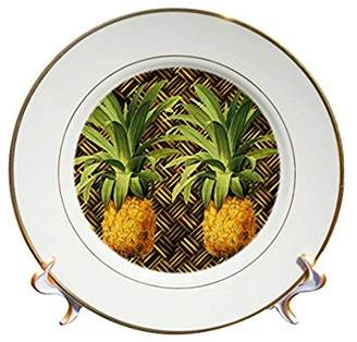3dRose A Pair of Juicy Tropical Pineapples Botanical Illustration, Porcelain Plate, 8-inch