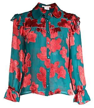 Alice + Olivia Women's Ziggy Ruffled Floral Shirt