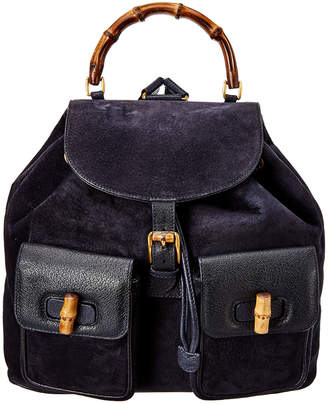 Gucci Navy Suede & Black Leather Bamboo Backpack