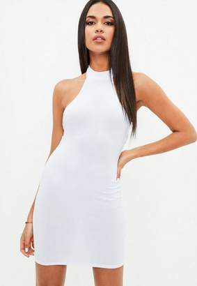 Missguided White High Neck Halter Dress