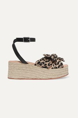 Loeffler Randall Posey Bow-detailed Leopard-print Plissé-lamé Espadrille Platform Sandals - Leopard print