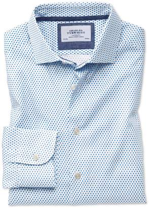 Charles Tyrwhitt Slim Fit Semi-Spread Collar Business Casual Diamond Print White and Blue Egyptian Cotton Dress Shirt Single Cuff Size 14.5/33