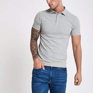 River Island Grey essential muscle fit polo shirt