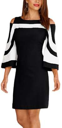 MuCoo Women's Off-The-Shoulder Solid Three-Quarter-Sleeve Short Fitted Dress, Black White